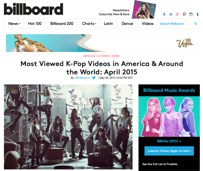 Billboard Ranks Girl's Generation most watched video of April 2015 mixed by Jon Rezin