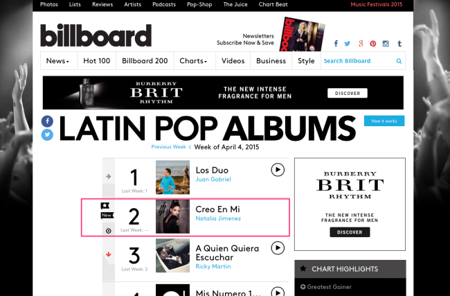 Natalia Jimenez mixed by Jon Rezin #2 on Billboard Latin Pop Album Chart